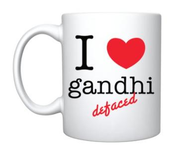 Mug- 'I love gandhi defaced'