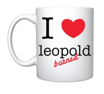 Mug- 'I love leopold burned'